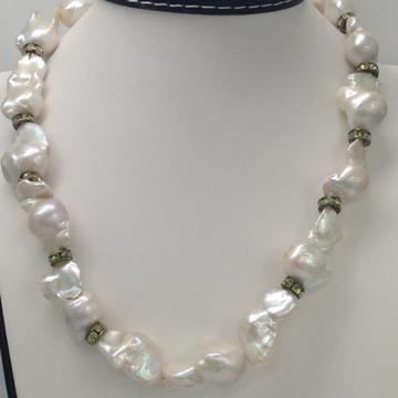 Freshwater White Oval Baroque Pearls Mala with CZ Chakri