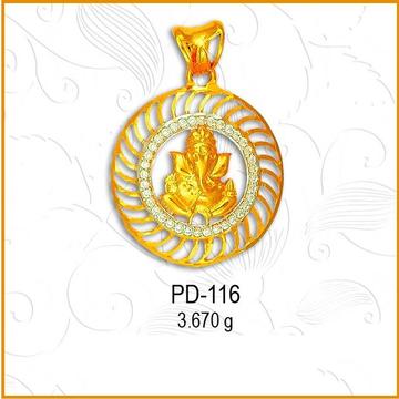 22KT Gold Ganesh Design CZ Pendant PD-116