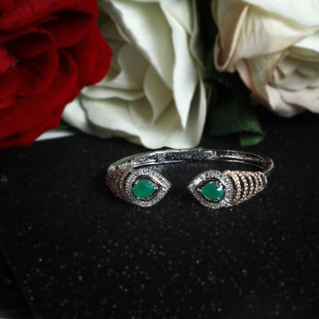 92.5 Silver  Natural Green Stone Two Tone Cz Brecelet for Women