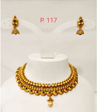 Gold plated with emerald and ruby choker set 1299