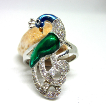 Silver 925 peacock color meena stone ring sr925-85 by