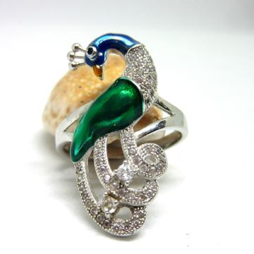 Silver 925 peacock color meena stone ring sr925-85