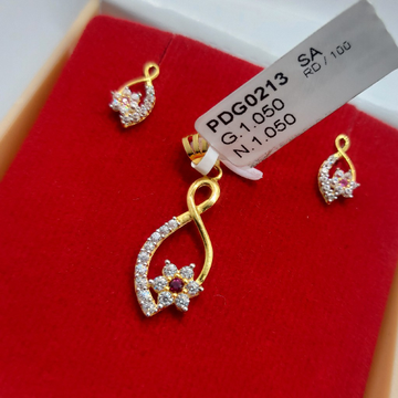 22ct cz pritty design pendant set by Parshwa Jewellers