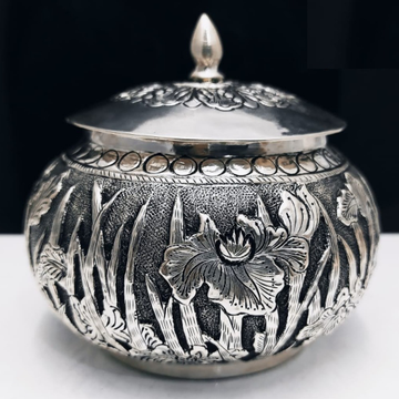 925 pure silver Box (Kachola) in deep carvings pO-...