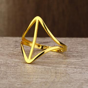 Ladies 22K Gold Fancy Long Plain Ring -LPR137