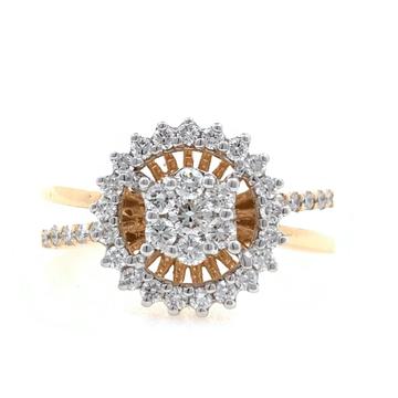 18kt / 750 rose gold flower diamond ring for ladie...