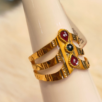 22KT Gold Hallmark Colorful Stone Ring by Panna Jewellers