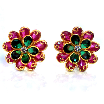 Fancy Color Stone Gold Earrings NJA-E005