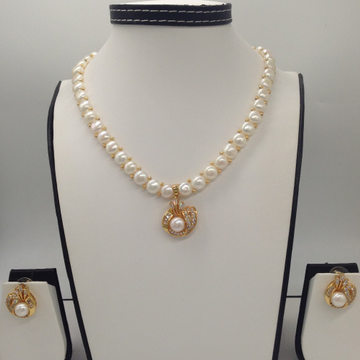 Whitecz and pearls pendentset with 1line buttonjali pearls mala jps0402