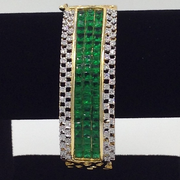 White And Green CZ Openable Kada Bracelet JBG0029