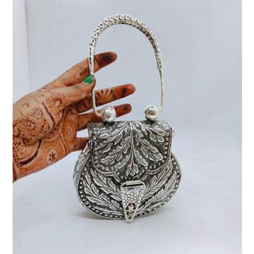 hallmarked silver shoulder bag with antique fine w...