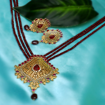 916 Gold Traditional Maroon Stone Necklace Set PJ-N002