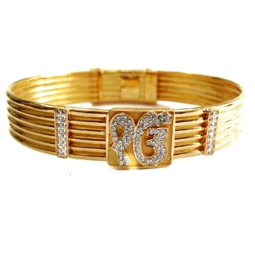 22k Gold Ek Om Sindhi Mantra Gents Kada Bracelet MGA - GK064
