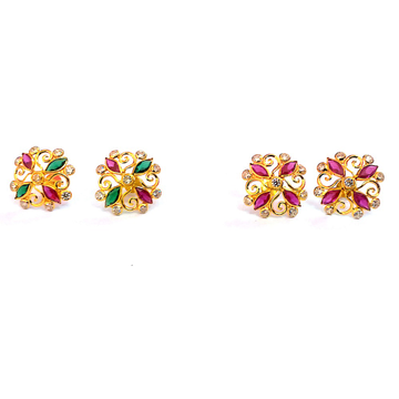 Fancy Color Stone Gold Earrings NJA-E006