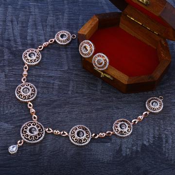 18CT Rose Gold Cz Designer Necklace Set RN130