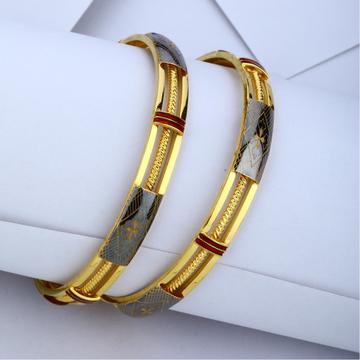 22KT Gold Fancy Triple Pipe Kadli Bangle