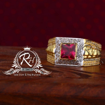 22 carat gold square red dimond gents rings RH-GR 833