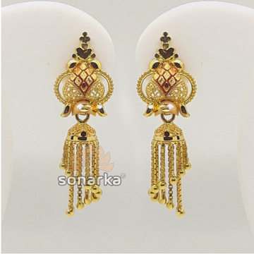 916 Gold Hallmarked Designer Jummar Earrings