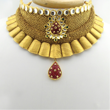 916 Gold Antique Bridal Necklace Set RHJ-3161