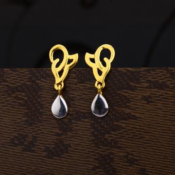 Ladies 916 Gold Designer Plain Earring -LPE209