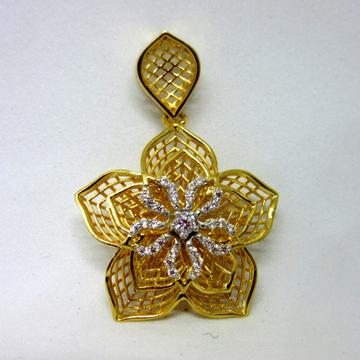 Gold unique designer 3d flower pendent