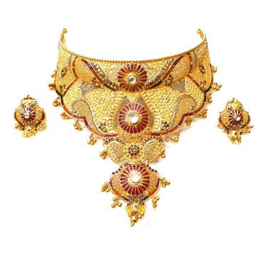 22k Gold Rajwadi Choker Necklace With Earrings MGA...