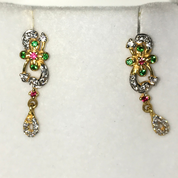 22KT Gold CZ Designer Color stone Earring KB-E002