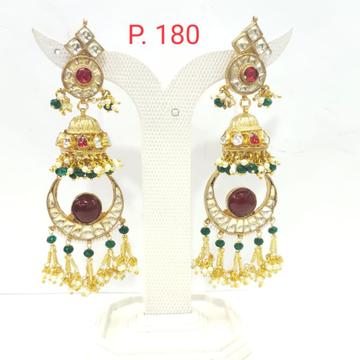Wedding moon shape red(ruby)stone & pearl jhumka earring 1621