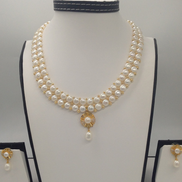 WhiteCZ And Pearl PendentSet With 2Line ButtonJali Pearls Mala JPS0381