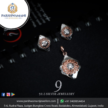 92.5 Sterling Silver Solitaire Rose Plated Silver Pendent set For Women