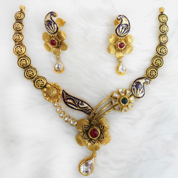 916 Gold Antique Wedding Necklace Set RHJ-5586