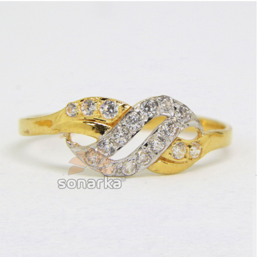 22ct 916 Yellow Gold CZ Diamonds Ladies Ring with Rodihum