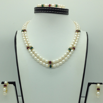 Freshwater White Oval2Lines Pearls Combination F...