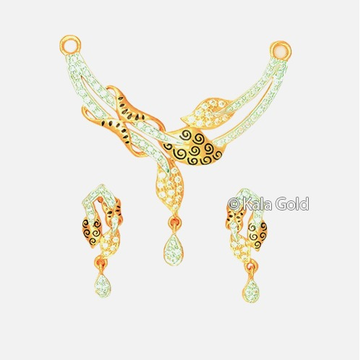 22KT Gold Leaf Shaped CZ Diamond Pendant Set