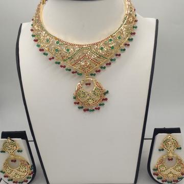 Ruby, Emeralds and CZ Polki Stones Amritsar Necklace Set JNC0024