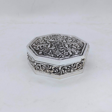 real Silver Box for Gifting In Antique Octagon Sha...
