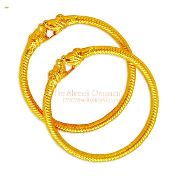 916 Gold Fancy Variya Kadali Bangle - 001