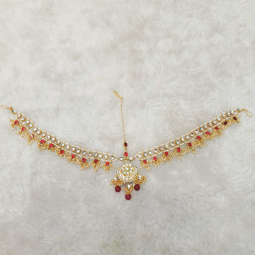 Beautiful white and red kundan's hair accessorie (jewellery)1109