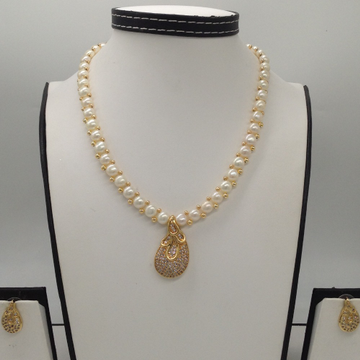 White CZ Pendent Set With 1 Line Button Jali Pearl...