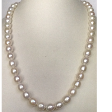 freshwater white oval pearls strand