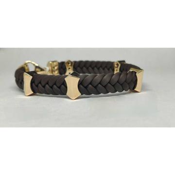 18k Gents Fancy Rose Leather Belt G-4703