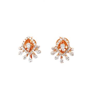 Fancy diamond studs with pear diamonds in rose gol...
