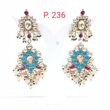 Wedding Sky Blue & Ruby stone kundan with hanging Beads Earring 1535