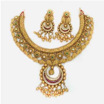 916 Gold Antique Bridal Necklace Set RHJ-6006
