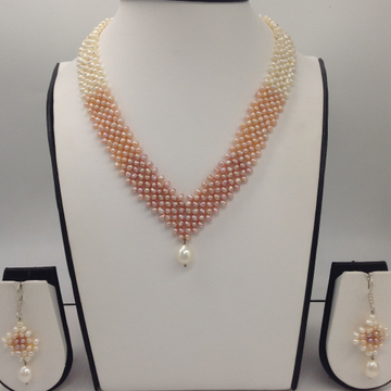 "Freshwater Multicolour Shaded Seed Pearls ""V"" Jaali Necklace Set JPP1028"