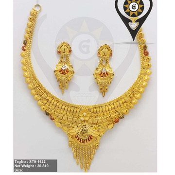 916 gold Latest Design Antique Design Necklace Set  by Parshwa Jewellers