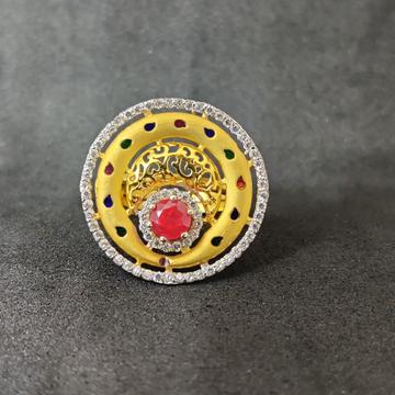 Exclusive Fancy Round Design 22K Gold Ring-15033