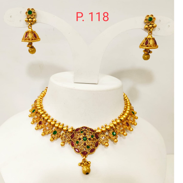 Gold plated Bead & Flower Design Choker Necklace set with Red & green stone 1348