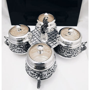 925 Pure Silver Stylish Dry Fruit Boxes With Stand...