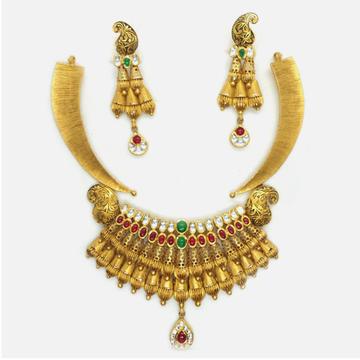 916 Gold Antique Bridal Necklace Set RHJ-4099